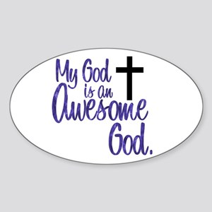 Awesome God Oval Sticker